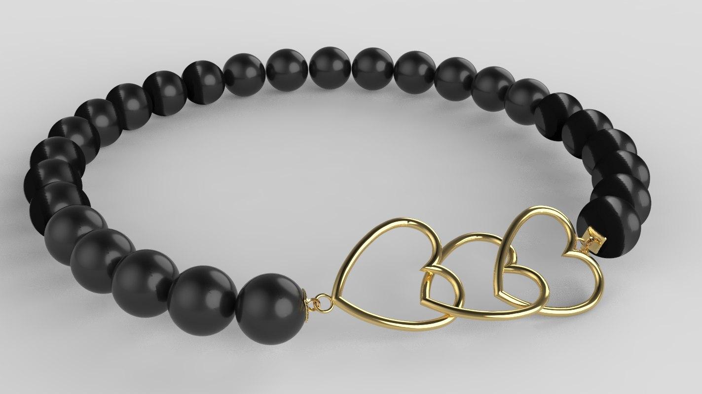 3D heart bracelet print gold silver