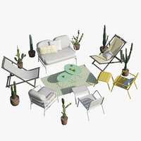Garden Furniture and Cactus Set