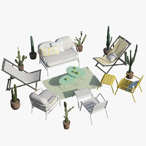 garden furniture cactus set 3D