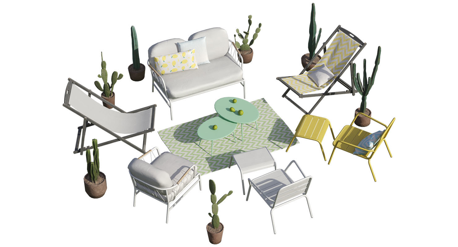 garden furniture cactus set 3D