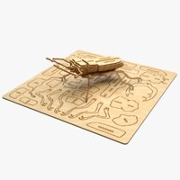 3D model beetle laser cut