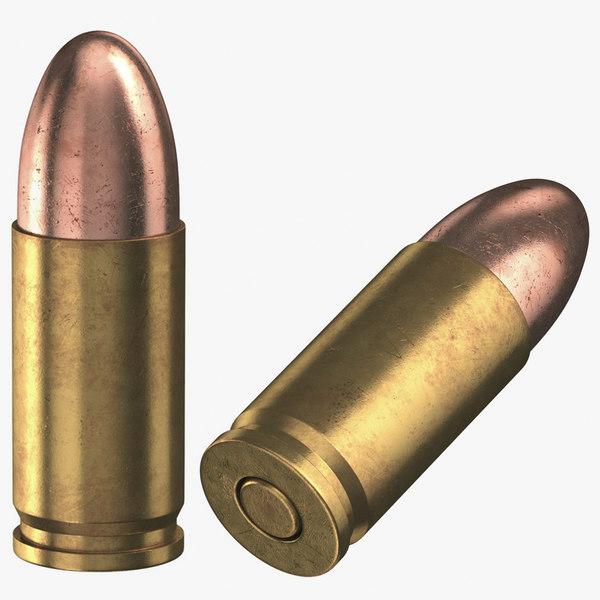 3D model bullets 9 19 luger
