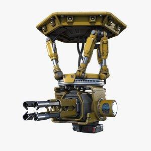 sci-fi turret pbr 3D