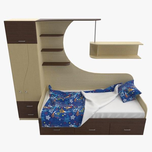 3D model wardrobe child s bed