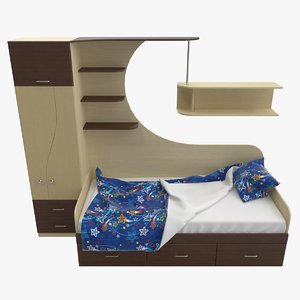 3D model wardrobe child s bed