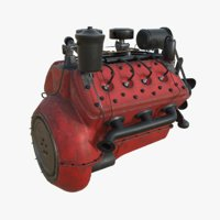 vintage engine flathead V8 with PBR textures