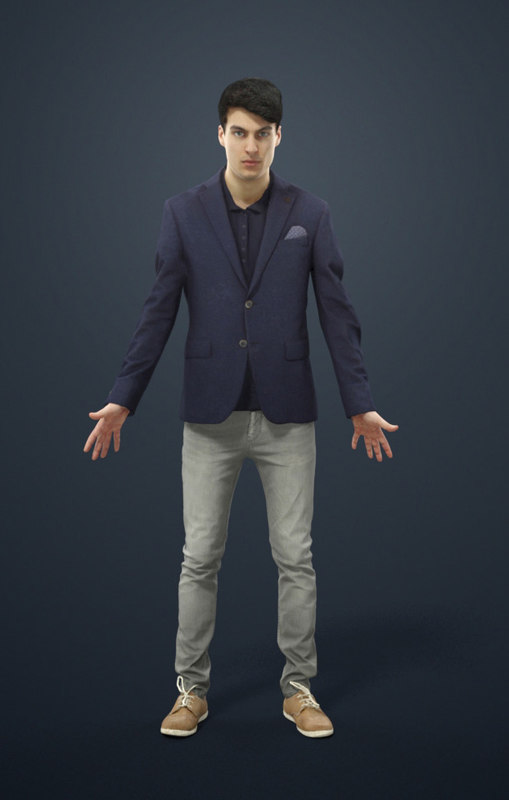 Animated Smart Casual Man Elegant - A-pose - Pat - rigged, Biped, CAT, walk  included