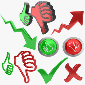 3D thumbs trend arrow model