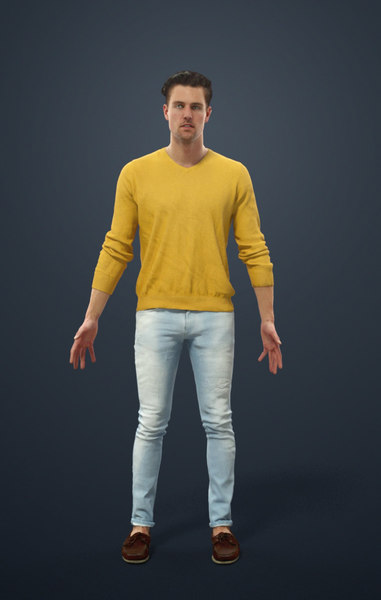 3D rigged characters include biped model