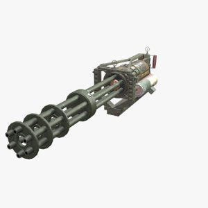 3D model minigun pbr
