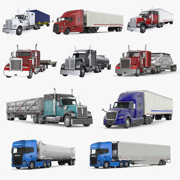 3D trucks trailers model