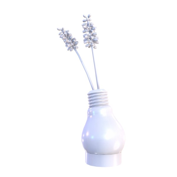 lightbulb-shaped vase flowers lightbulb 3D model
