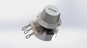 3D model volume tone controls guitar