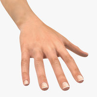 3D female arm short nails model