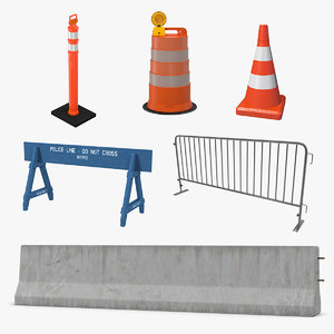 3D road barriers 3 model
