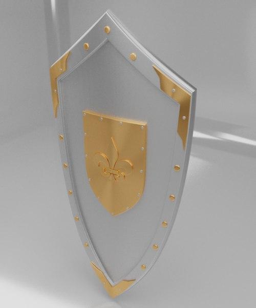 medieval shield fleur-de-lis emblem 3D model