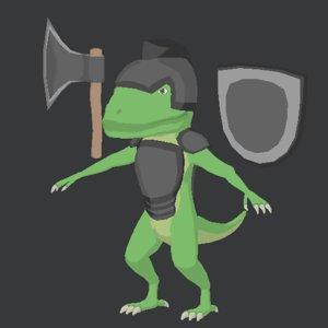3D model solider lizard