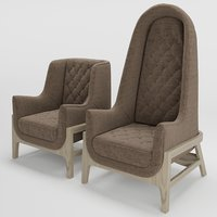 bleu cocoon armchair 3D model