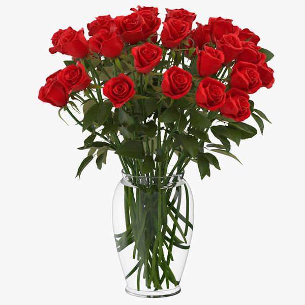 3D red rose bouquet vase model