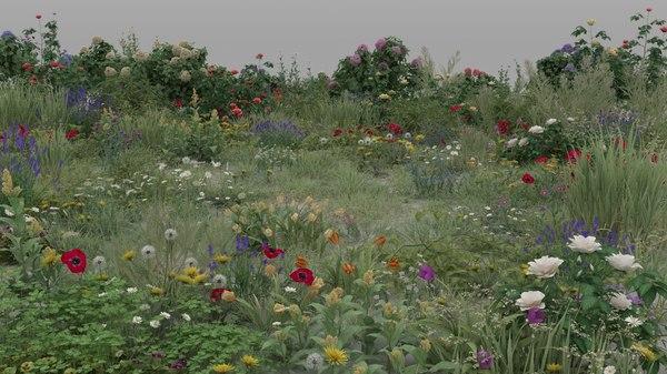 3D 20 grass flowers ground