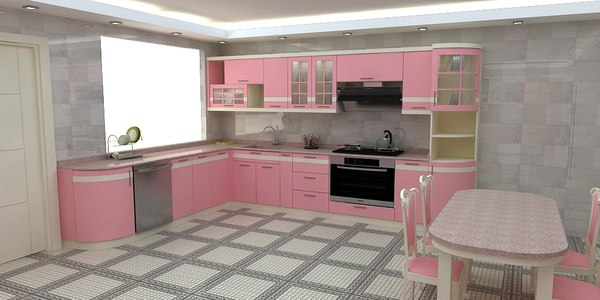 modern pink kitchen 3D model