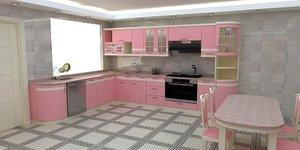 modern pink kitchen 3D model