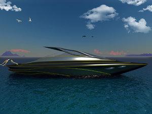 3D conceptual futuristic sport yacht model