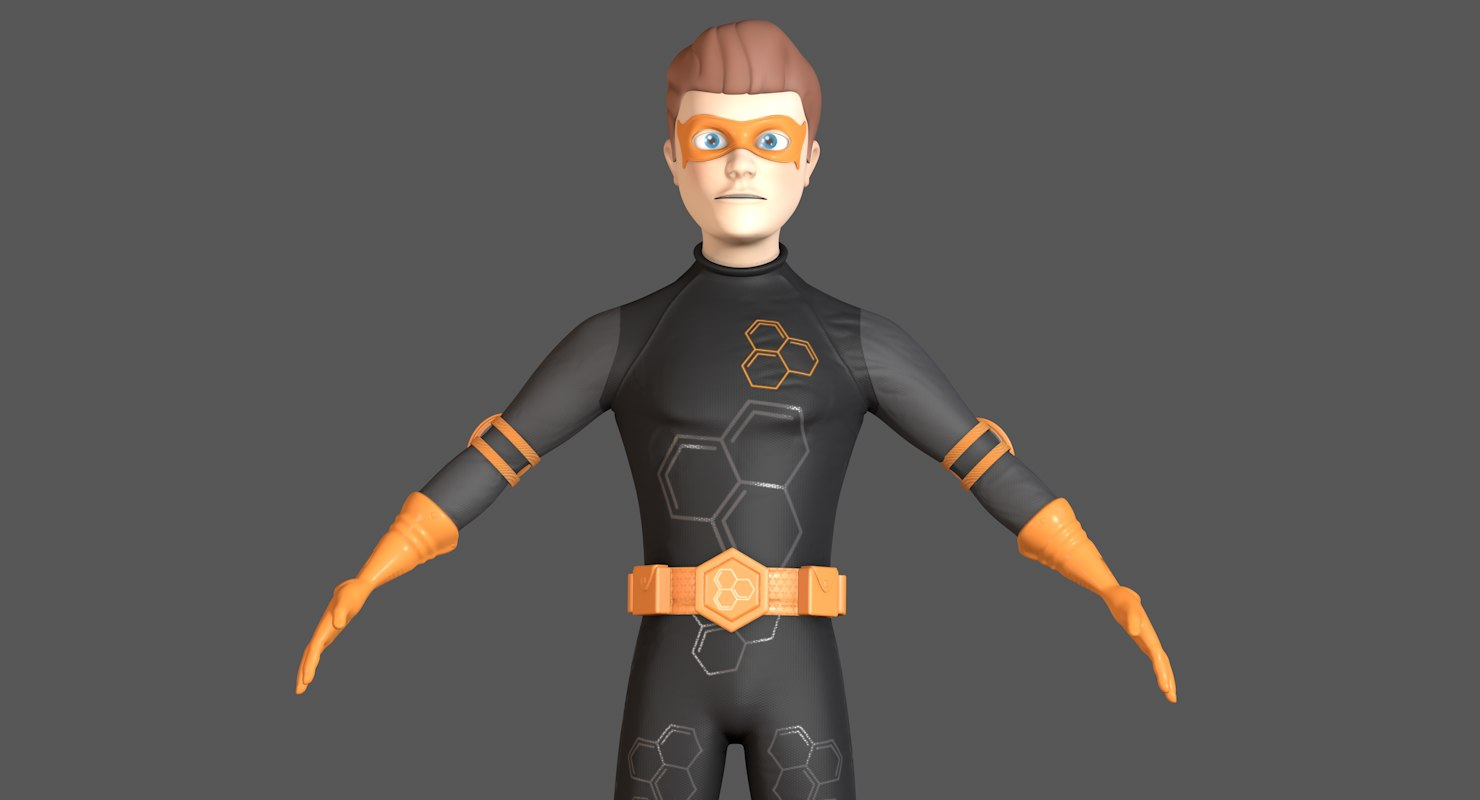 cartoon hero character 3D