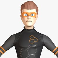 cartoon hero character 3D