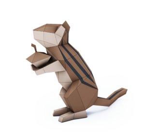 3D chipmunk printing papercraft