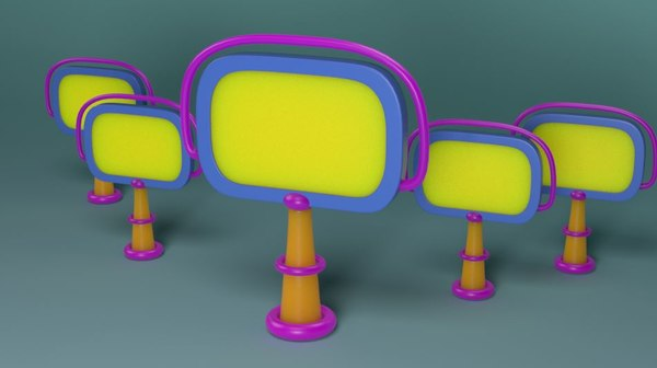 cartoon city entry board 3D model