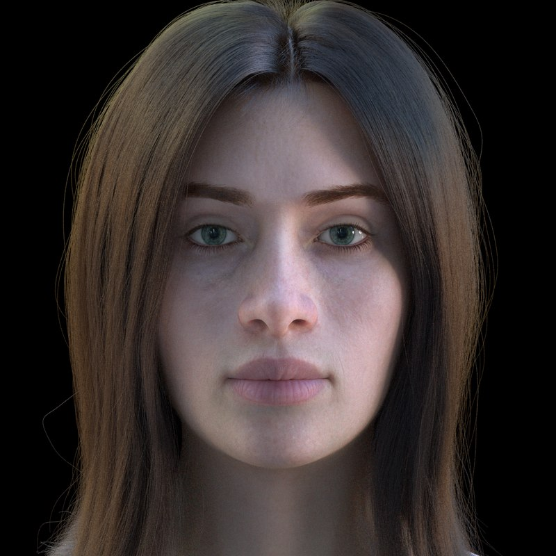 3D model female character rig face