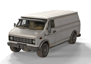 3D model low-poly old generic van