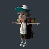 3D cartoon boy traveler