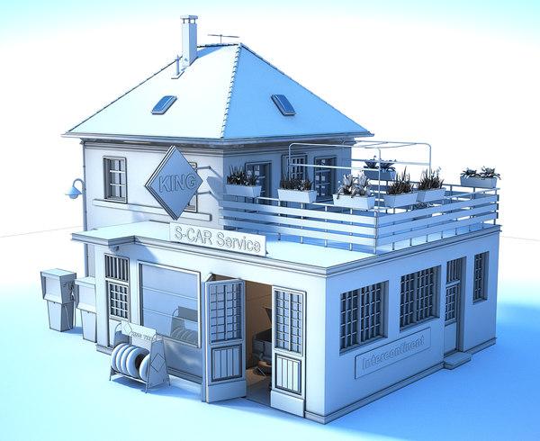 gas station white 3D model