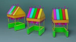 cartoon beach food cart 3D model