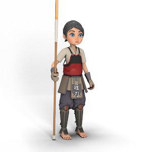 3D model cartoon girl naginata