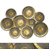 Three Hands Co - Abstract Concentric Circle Texture Metal Disc Wall Decor