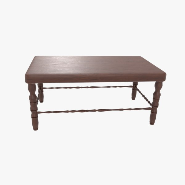 dark brown wooden coffee table 3D model