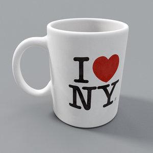 3D love new york mug model