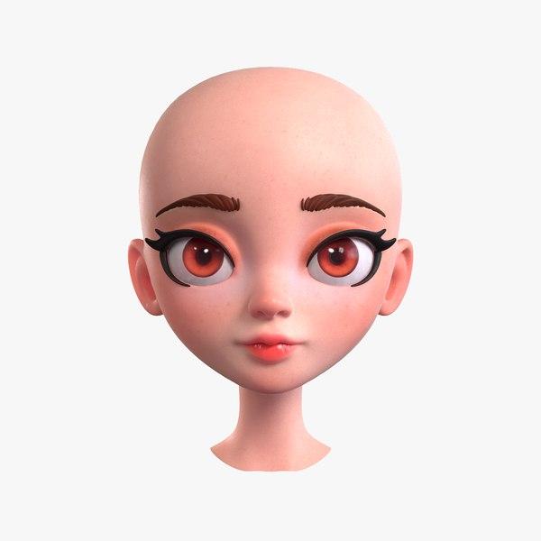 3D cartoon girl head