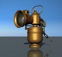 3D acetylene bicycle lamp model