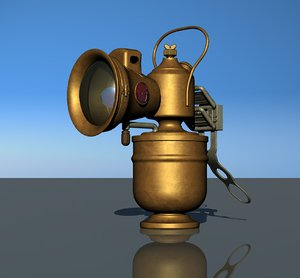 3D acetylene bicycle lamp model