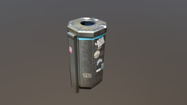 photoscanned trashcan - 3D