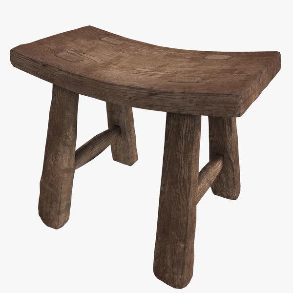 wooden stool 3D