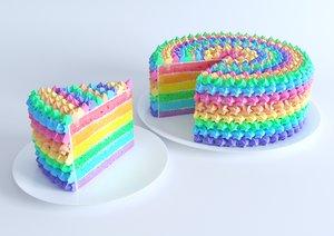 3D model rainbow cake