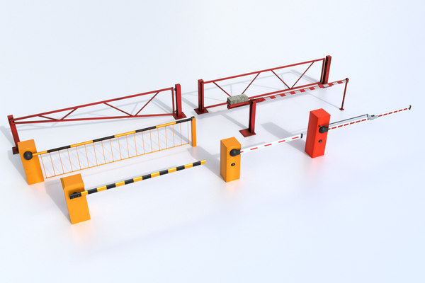 set boom barrier gates 3D