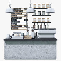 3D coffeeshop black white set