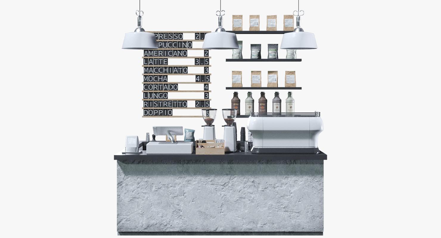 3D coffeeshop black white set