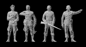 3D model german soldiers officer